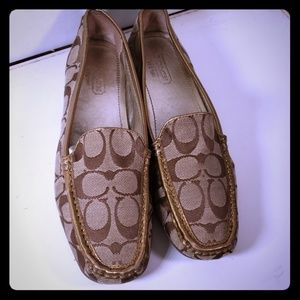 Coach Loafers Canvas trimmed Leather 8.5 M